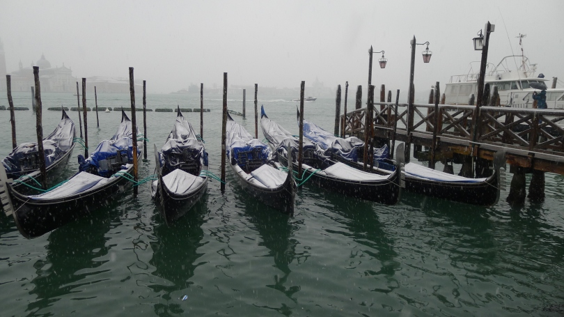 Gondola,San Marco Square,Snow Venice