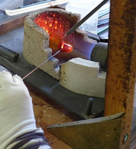 Reheating Murano Glass Beads in the Fire