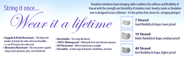 Wire Gauges for Venetian Glass Beads,Beadalon Wire