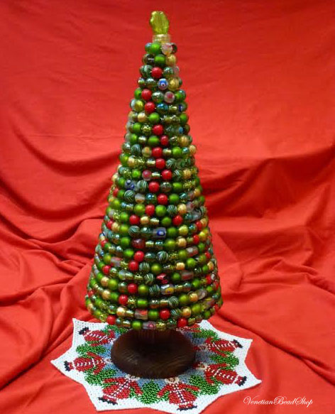 Venetian Beads, Murano Glass Beads, Christmas Tree, Beaded Tree