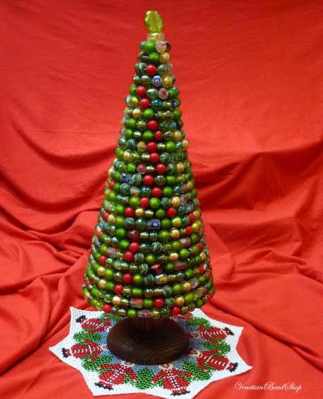 Venetian Beads, Murano Glass Beads, Christmas Tree, Beaded Tree