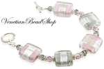 Pink and Gray Rectangle Murano Glass Bracelet