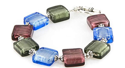 Murano Glass Beads Bracelet with White Gold Foil