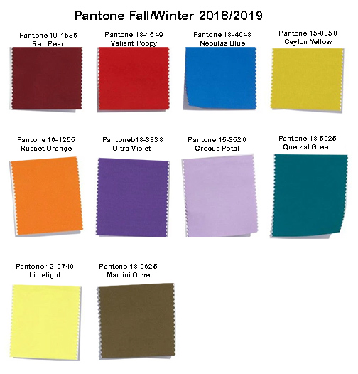 Pantone Colors Fall-Winter 2018-2019